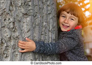 户外, 性质, 拥抱, 树, 环境保护, 孩子, 保护, 孩子