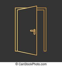 戸オープン, 金, icon-, ベクトル, イラスト