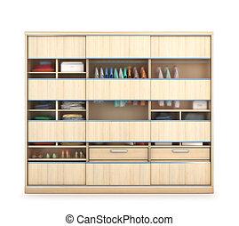 戸棚, イラスト, 滑っている, doors., wardrobe., 透明, 3d