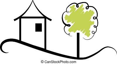 房产, 房子, 带, 树, 标识语