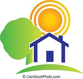 房产, 房子, 树, 同时,, 太阳, 标识语