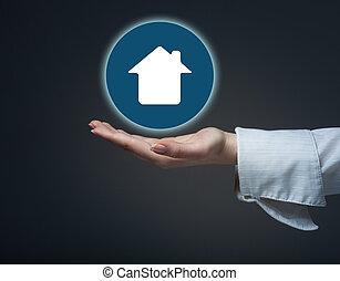 房地产代理, 提供, house., 财产, 保险, 同时,, 安全, concept.