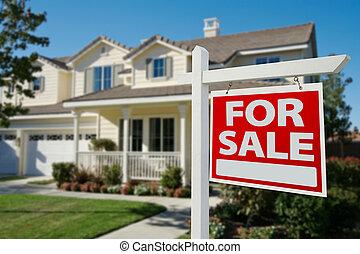 房地產, 房子, 出售 簽署, 家