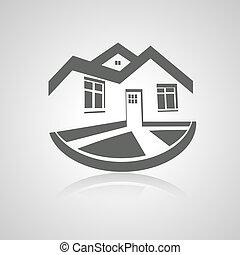 房地產, 房子, 符號, 現代, 黑色半面畫像, 矢量, 不動產, 圖象, 標識語, 家