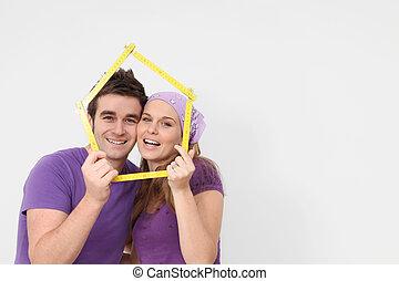 房地產, 概念, 年輕人, 新的家