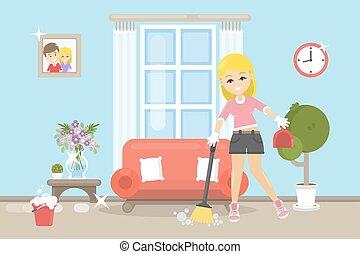 房子清洁, illustration.