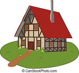 房子, 上, 草坪