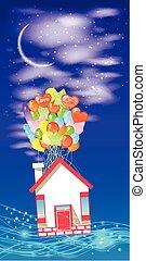 房子, 上, the, 气球, 為了飛行, the, 天空, 由于, a, month.