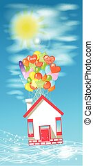 房子, 上, the, 气球, 為了飛行, the, 天空, 由于, clouds.