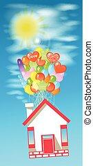 房子, 上, the, 气球, 為了飛行, the, 天空, 由于, the, sun.