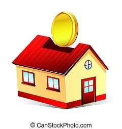 房子, 下跌, 硬币