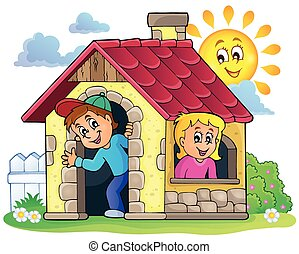 房子, 主題, 孩子,  3, 小, 玩