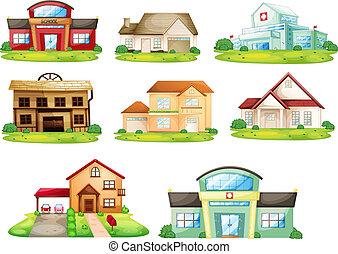 房子, 以及, 其他, 建築物