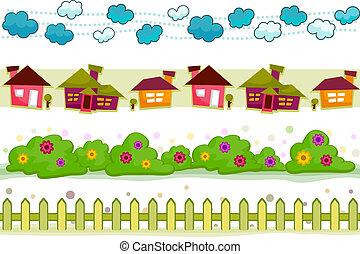 房子, 以及, 花園, 邊境