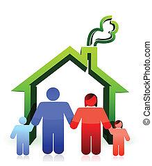 房子, 以及, 高興的家庭, 插圖