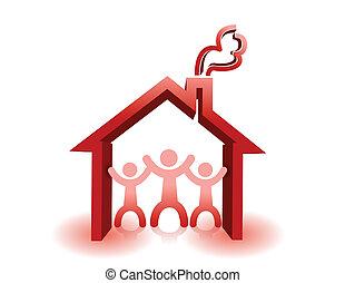 房子, 保護, 屋頂, 在下面