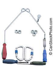 房子, 做, 在中, 工具