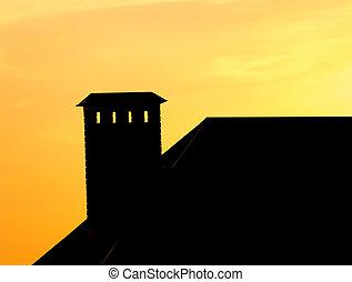 房子, 傍晚, 煙囪, 屋頂