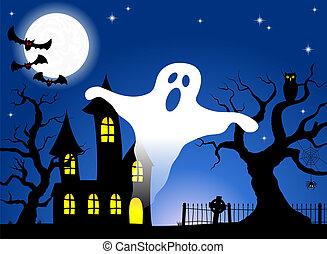 房子, 充足, 神鬼出没, 月亮, 夜晚