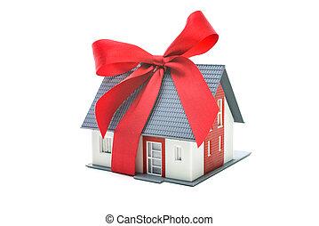 房子, 关于建筑的模型, 带, 红的弓