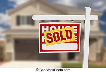 房子, 出售, 出售 簽署, 家庭前面, 新