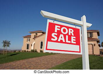 &, 房子, 出售, 出售 簽署, 家, 新