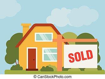 房子, 出售, 矢量, 标志。, illustration.