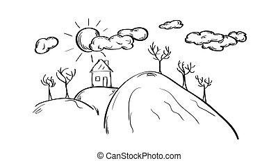 房子, 勾画, 小山