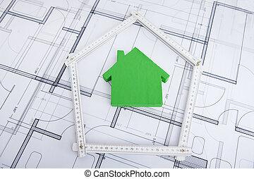 房子, 在, 折尺, 上, 藍圖