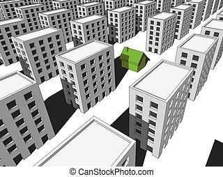 房子, 块, 许多, 公寓
