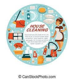 房子, 家庭主妇, 矢量, 打扫, 清洁, 海报, 女仆, 家, 工具
