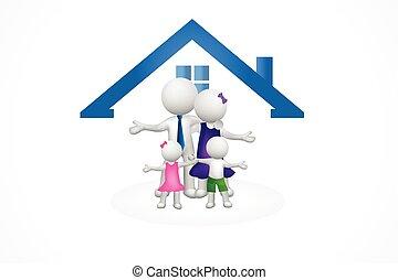 房子, 家庭, 3d, 標識語, 人們