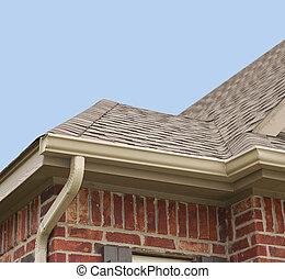 房子, 屋頂, 以及, 排水溝