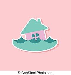 房子, 屠夫, 洪水, 纸, 背景, 时尚