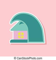 房子, 屠夫, tsunami, 纸, 背景, 时尚