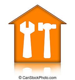 房子, 带, 工具