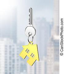 房子, 形狀, 戒指, 鑰匙, 銀