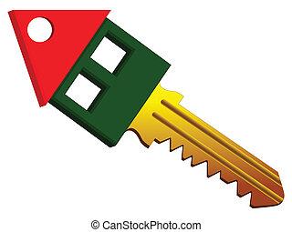 房子, 形狀, 鑰匙