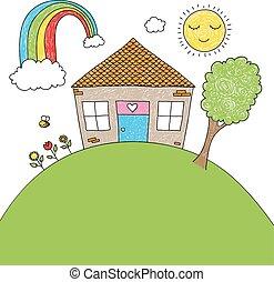 房子, 心不在焉地亂寫亂畫, 孩子