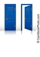 房子, 打開, 以及, 閉合的門, 集合