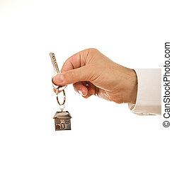 房子, 握住, 钥匙, 手