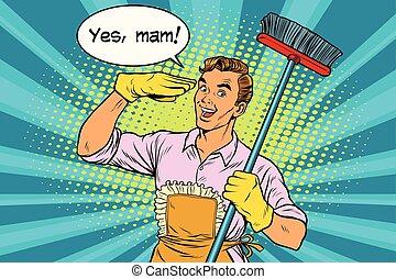 房子, 是, mam, 清掃, 丈夫