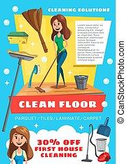 房子, 服务, 打扫, 清洁, 地板