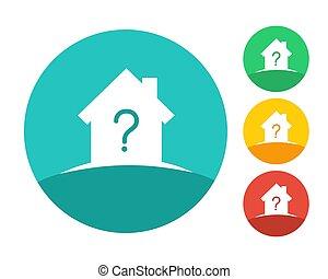 房子, 标识语, 概念, 带, 问号
