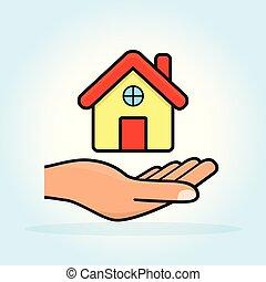 房子, 概念, 图标, 手
