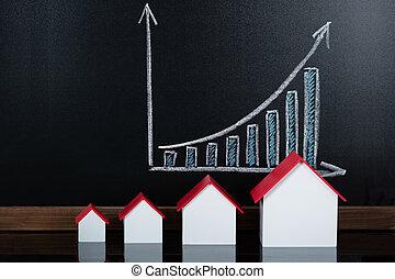 房子, 模型, 前面, 黑板, 顯示, 圖表