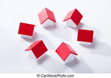 房子, 模型, 安排, 在, 環繞