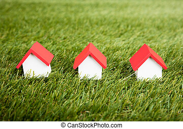 房子, 模型, 安排, 在, 行
