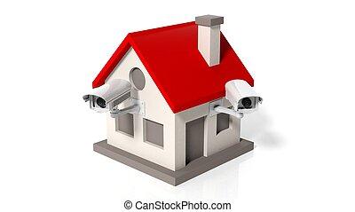 房子, 模型, 由于, 監視 照相機, 被隔离, 在懷特上, 背景