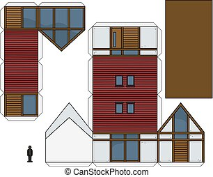 房子, 模型, 纸